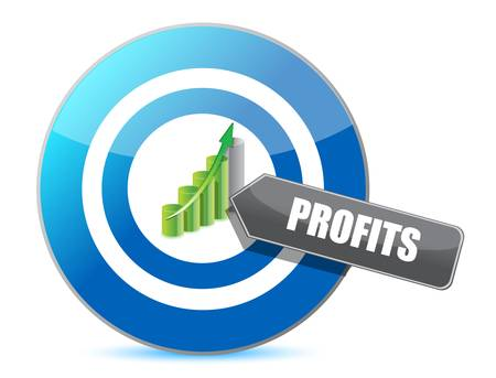 Business target profits graph illustration design over white Vector