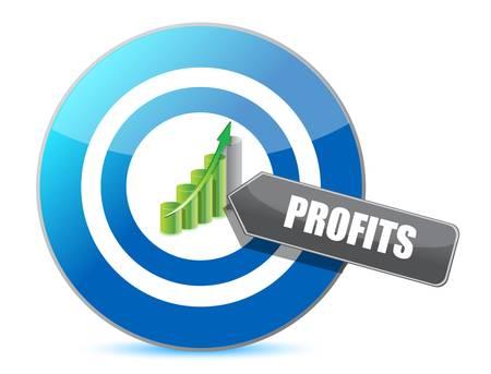 marksmanship: Business target profits graph illustration design over white