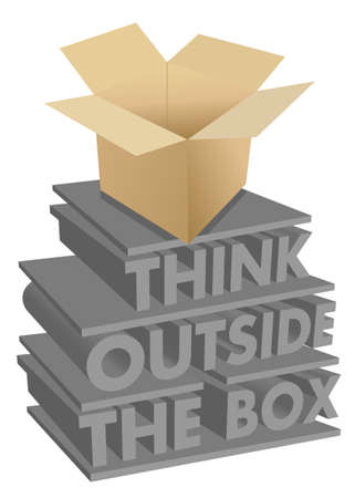 outside box: think outside the box 3d concept illustration design Illustration