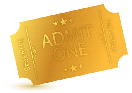 admit: illustration of gold ticket over a white background