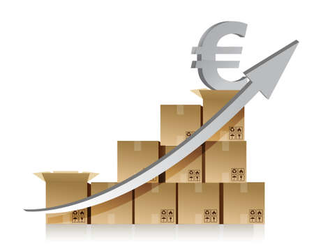 Financial euro box graph illustration design over white Stock Vector - 15291867