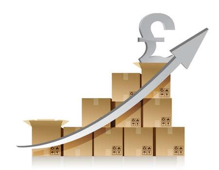 pound: Financial pound box graph illustration design over white Illustration