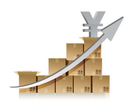 Financial yen box graph illustration design over white Stock Vector - 15291864