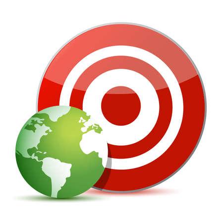 red target green globe illustration design over white Stock Vector - 15291878