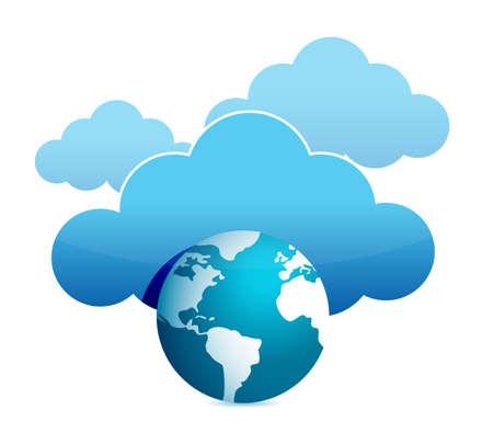globe cloud computing illustration design over white