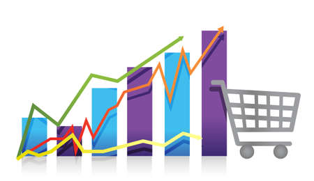 grafico vendite: Vendite crescita del business grafico illustrazione carrello carrello Vettoriali