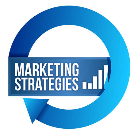 successful strategy: Marketing strategies cycle illustration design over white