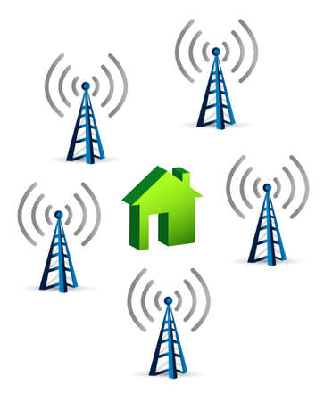 residential homes: antennas around a house connection concept illustration