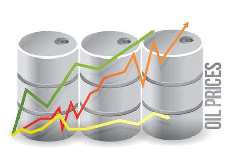 oil barrels - oil prices illustration design over white