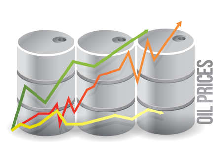 crude: oil barrels - oil prices illustration design over white