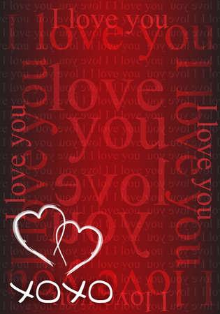 xoxo: xoxo hearts red love card illustration design