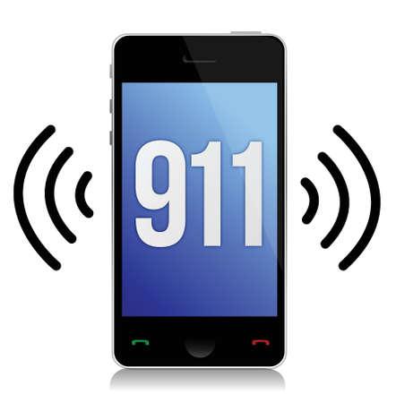 화이트 통해 긴급 번호 911 호 그림 디자인 일러스트