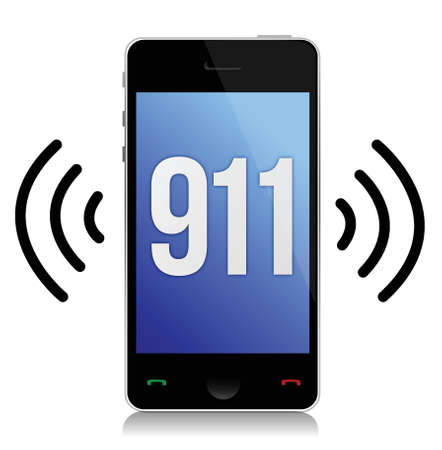emergency call: Emergency number 911 call illustration design over white