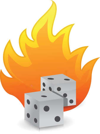 Dices on fire illustration design over white background