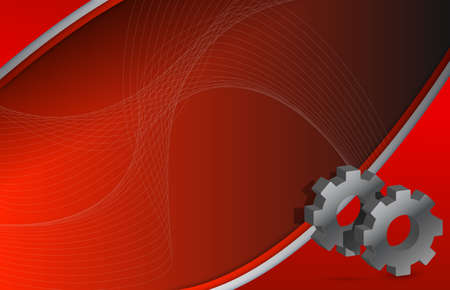 Modern Red wave and Gears illustration design background illustration