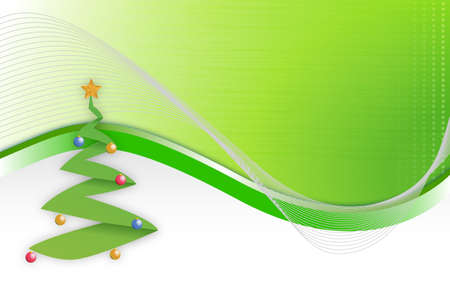 happy new year banner: Christmas tree wave background illustration design
