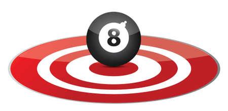 bola ocho: Concepto de orientación suerte, ilustración, diseño, encima, blanco Vectores
