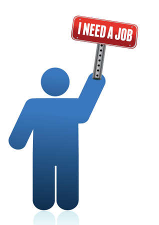 Icon with I need a job sign illustration Stock Vector - 15291942