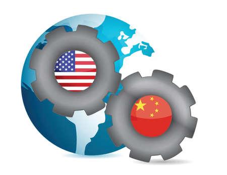 together concept: nosotros y China trabajan juntos ilustraci�n del concepto