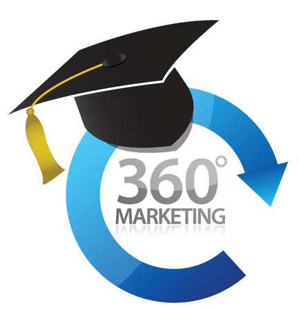 study icon: 360 marketing education concept illustration design over white