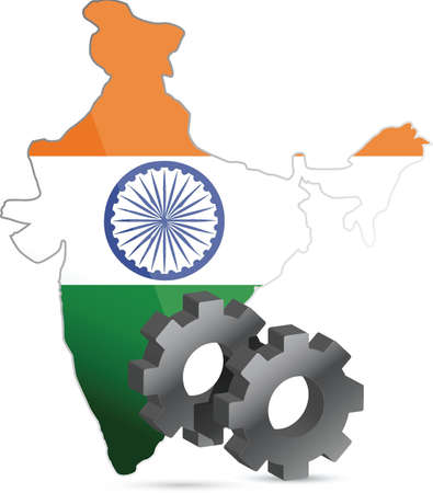 hindustan: india map flag and gears illustration design over white Illustration