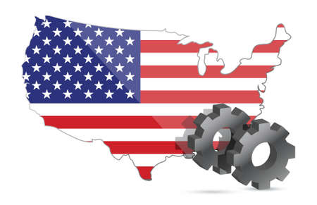 Us map flag and gears illustration design over white Vector