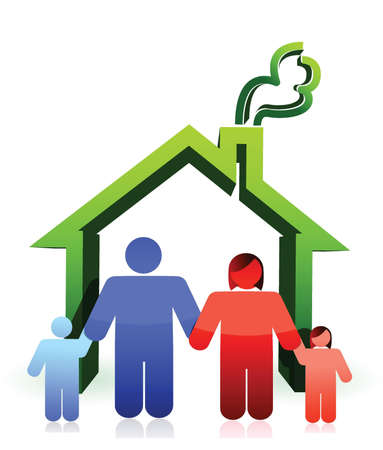 safe house: House and happy family illustration design over white
