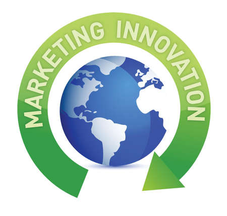 global innovation: Marketing innovation cycle and globe illustration design