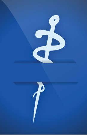 emblem for drugstore or medicine: medical symbol on a pocket illustration design over blue