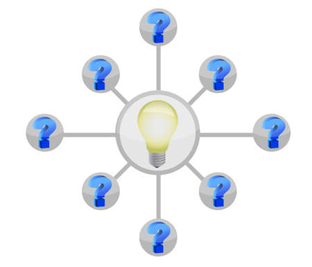 interrogatory: question mark and lightbulb diagram illustration design Stock Photo