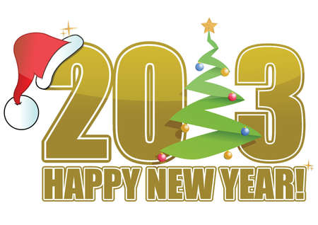 2013 Christmas sign with tree and hat illustration Stock Vector - 15319771