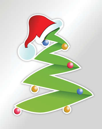 Christmas tree and santas hat sticker illustration design Vector
