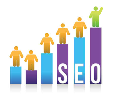 search engine optimized: People and colorful seo graph illustration design Illustration