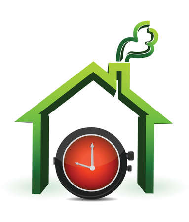 House with watch in front illustration design