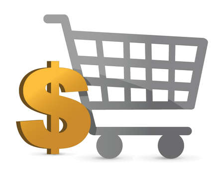 shopping cart and dollar currency illustration design