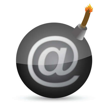 email bomb: bomb with at-symbol illustration design over white Illustration