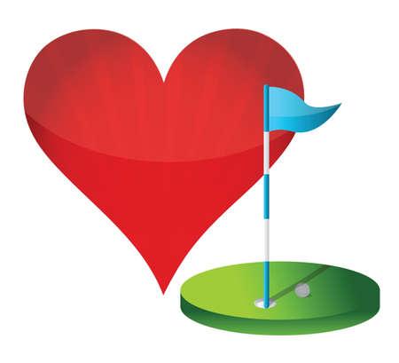 de golf d'amour d'illustration concept sur blanc Vecteurs