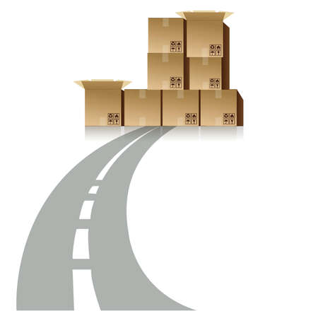 Road block by shipping boxes illustration design Vector