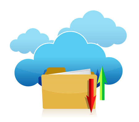 Cloud computing and folder upload illustration design illustration