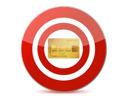 Target a credit card illustration design over white Stock Illustration - 15342233