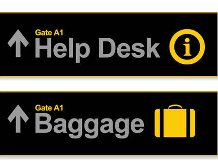 Help desk and baggage airport signs illustration