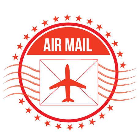 Air Mail stamp illustration design over white