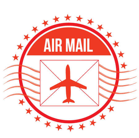 vintage postcard: Air Mail stamp illustration design over white