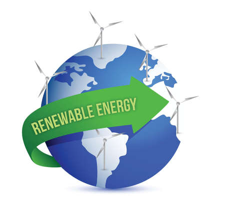 Renewal energy globe concept illustration design over white Ilustrace