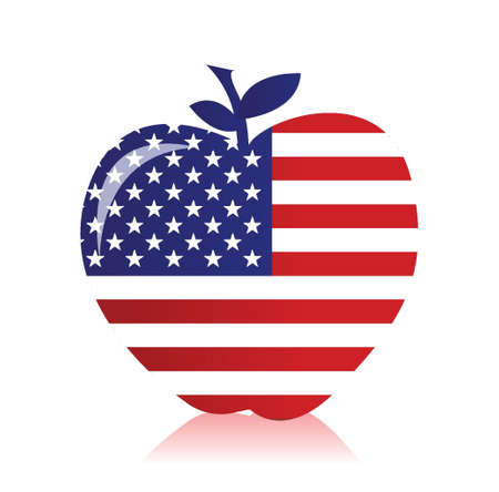 apple with an american flag illustration design