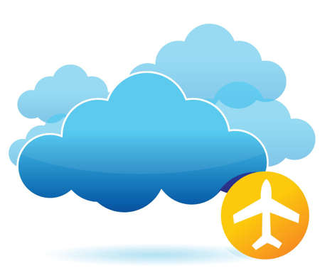 Cloud and airplane illustration design over white Иллюстрация