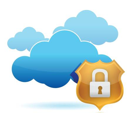computer cloud protected by gold shield illustration Stock Vector - 15543871