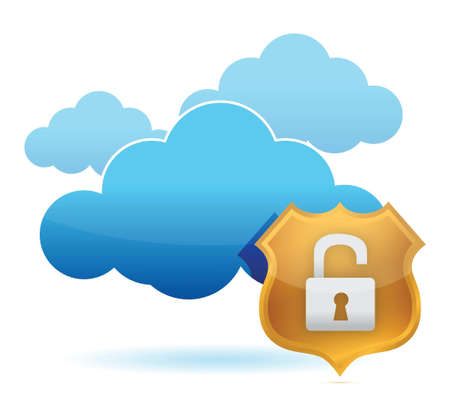 unprotected: computer cloud unprotected by gold shield illustration