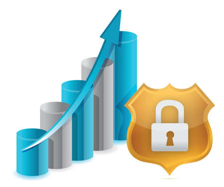 business protection: Business protection graph and shield illustration design