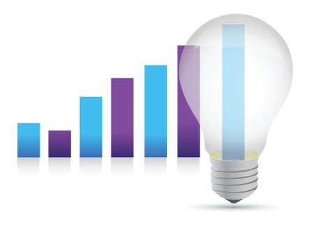 Idea lightbulb graph illustration design over white background